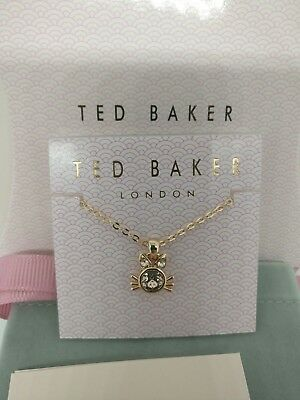 9ac149cacffa Ted Baker Sabella Crystal Kitten Pendant Necklace Sparkly Valentine s Gift