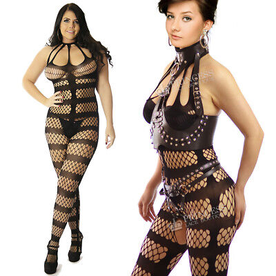 True Size UK 8-24 Stripes Body Stocking Tights Catsuit Sexy Underwear Lingerie
