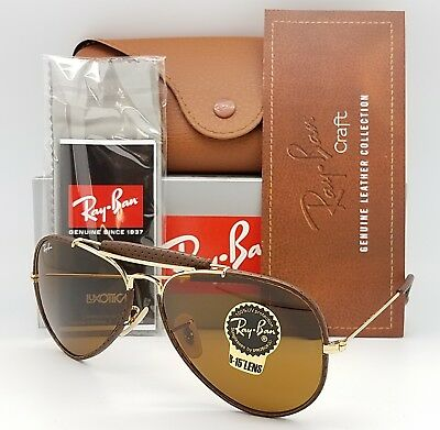 NEW Rayban Outdoorsman Leather Craft Aviator RB3422Q 9041 58 Gold Brown RB  3422Q a4300b5b07