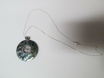 """.925 Sterling Silver 17.5"""" Necklace Chain & Mother of Pearl / Abalone Shell Pend"""