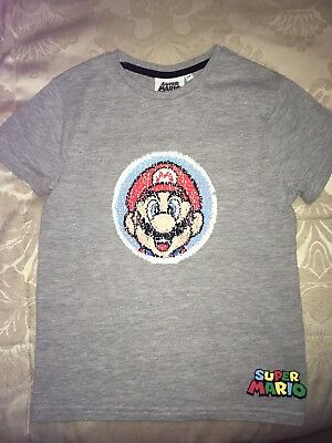 Super Mario Reversible Sequin T Shirt Boys Girls 6-7 Years Bnwt Blue Clothes, Shoes & Accessories