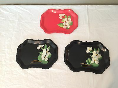 """3 Antique Hand Painted Red & Black Floral Tin Dresser Trays 9 1/4"""" x 6.5""""-PRETTY"""
