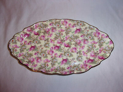 "English Chintz Fine Porcelain Pink Floral Tray 10""x6"" Made In Poland/England"