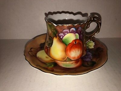 Vintage LEFTON Cup & Saucer  Heritage Brown Fruit Free Shipping
