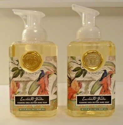 Lot Of 2 Michel Design Works Foaming Hand Soap Enchanted Garden