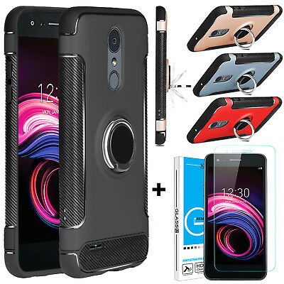 For LG Aristo 3/Tribute Empire Ring Stand Phone Case Cover&Screen Protector Film