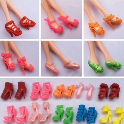 3 Pairs Fashion Party Daily Wear Dress Outfit Cloth Shoes For Barbie Doll Random