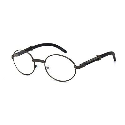 ab4e7809c604 Vintage Wood Buffs Migos Designer Eye glasses Oval Frame Clear Lens Glasses