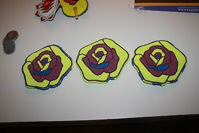 """3 Native American Beaded Purple/yellow 4 1/2"""" Rose Patches Free Shipping"""