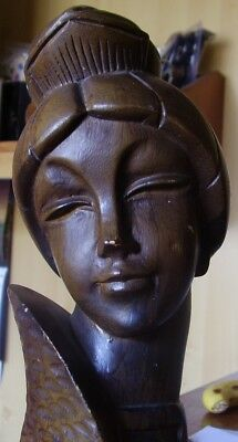 Female Wooden Bust Statue - Nice Piece !!