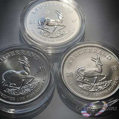 2017 2018 2019 1 oz South African Silver Krugerrand Coins Premium Uncirculated