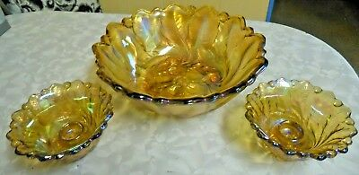 Large Footed Iridescent Indiana Glass Carnival Bowl w/ 2 Matching Candle Holders