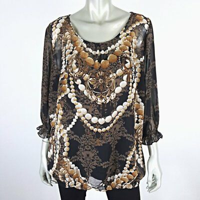 751a4096a22 East 5th Womens Dripping in Gold   Pearls Ruffle Blouse Plus Size 2X with  Cami