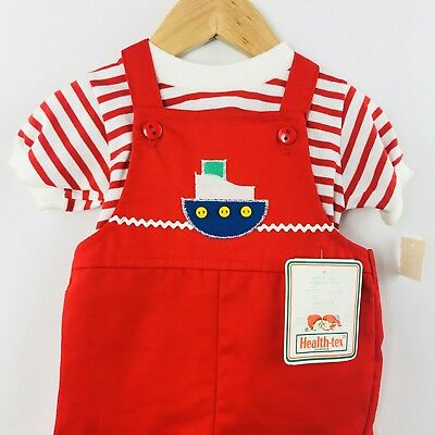 NWT Vintage Health-tex Jumper Set Boat Red Striped Overalls Nautical 12 Mo
