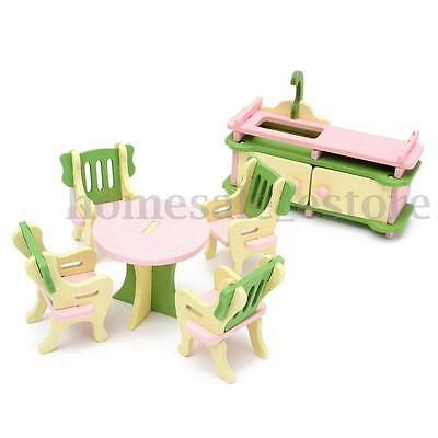 Retro Doll House Miniature Kitchen Wooden Furniture Set Kids Pretend Play Toy 1