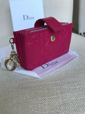d660a18bf807 CHRISTIAN DIOR Cannage Quilted Lambskin Leather Lady Dior Card Holder Wallet