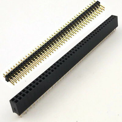 50 set Male + Female header 80P 2.54 Pitch PCB Through hole straight Gold plate