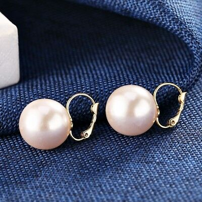 18K White & Yellow Gold Filled Lab-Created Single Pearl Charming Hoop Earrings