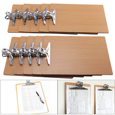 10pcs Wooden A4 Clipboard Hardboard Chrome Clip Small Menu Board NEW