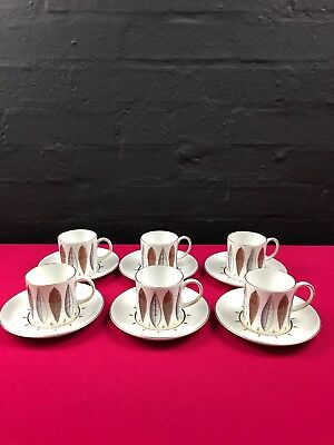 6 x Susie Cooper Hyde Park Coffee Cups / Cans and Saucers C912 Set