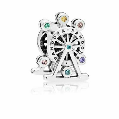 Authentic Pandora Charms 925 ALE Sterling Silver Ferris Wheel Crystal Dangle