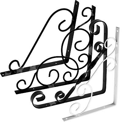 Mm 2 Pcs Wall Shelf Iron Bracket Cistem Toilet Vintage Scroll Style Black Set