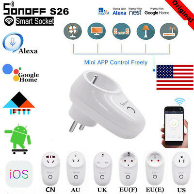 Sonoff S26 TFTTT WIFI Smart Power Socket Wireless Plug Time Fr Alexa Google lot