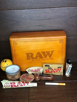 Raw Tray Combo 9 Items Rolling Papers, Cones, Grinder, Rolling Box, Candle