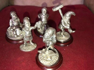 Gnomes A Group of Five Quirky English Miniatures Pewter Gnomes