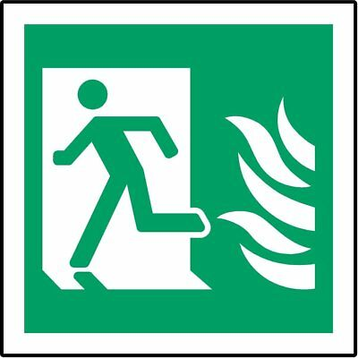 ISO Safety Label Sign - Emergency left right Symbol with Fire symbols