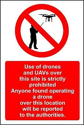Use of drones and other UAV's over this area is strictly prohibited Safety sign