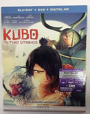 Kubo and the Two Strings (BLU-RAY+DVD+Digital HD)w/slipcover Brand New