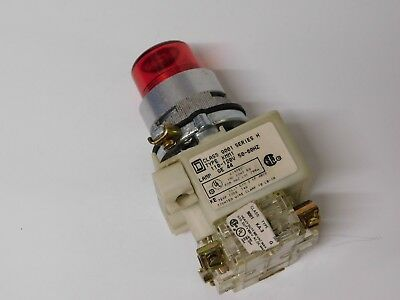 Square D TPM-35 Red Pushbutton lamp indicator class 9001 ser H 110-120VAC