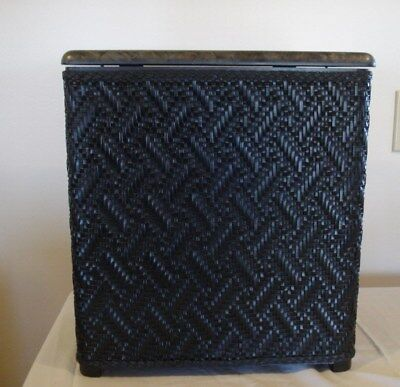 Atomic Starburst Vtg Wicker Hamper Borg Erickson Black Gray Marble Laundry vogue
