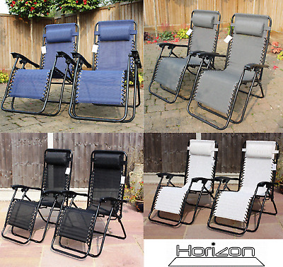 Set Of 2 Reclining Sun Loungers Gravity Folding Reclining Garden Chairs
