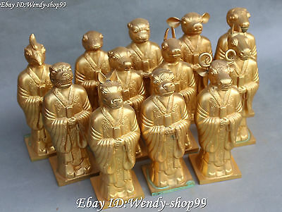 """9"""" Collect Chinese Ancient Folk Bronze 12 Zodiac Year Animal Set Stand Statue"""