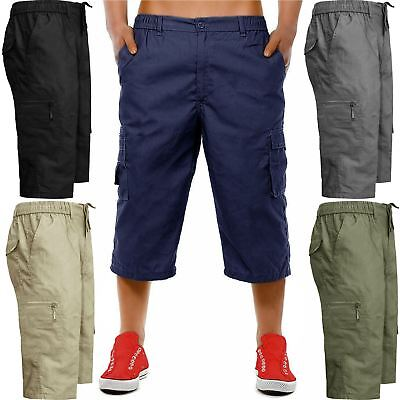 New Mens Cargo Combat 3/4 Shorts Long Knee Length Elasticated Waist Cotton Pants