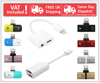 Double Lightning Or 3.5mm Audio Charging Adapter For iPhone 7 8 Plus X XR XS Max