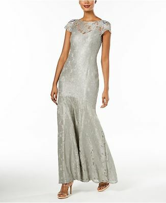 $395 Adrianna Papell Women'S Gray Embellished Metallic Lace Gown Dress Size 10