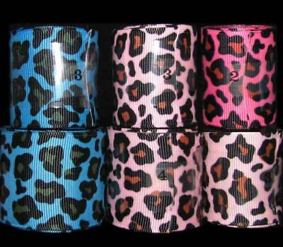 "20 Yards Mixed Lot Animal Print Pink Blue Leopard Grosgrain Ribbon 1 1/2""W"