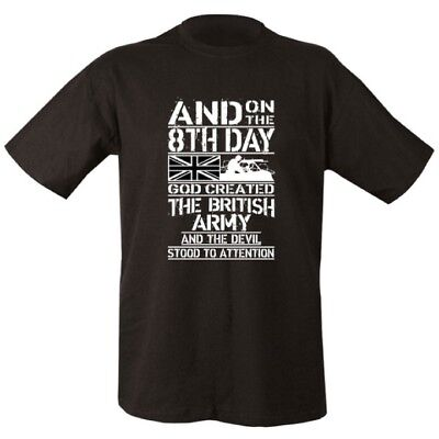 Military T-Shirt Mens S-2Xl On 8Th Day God Created The British Army Veteran