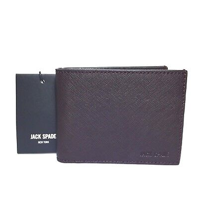 136a7d660646 JACK SPADE Mens  Barrow  Brown Saffiano Leather Slim Bifold Wallet (MSRP   128)