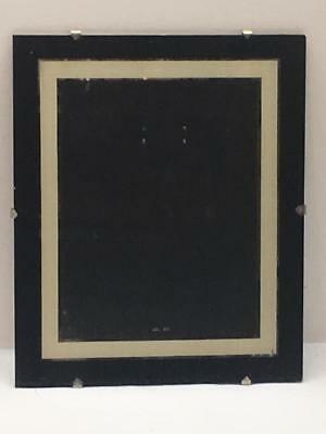Vtg Reverse Painted Glass Picture Tripod Frame Black Cream & Silver Art Deco Era