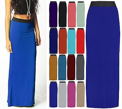 New Long Maxi Womens Gypsy Bodycon Ladies Dress Full Plus Size 8-26*Jersey Skirt