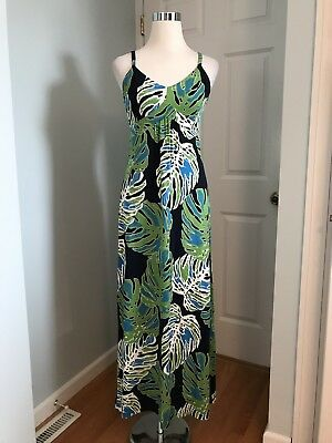 5f29d436731 Tommy Bahama Women s Navy Green White Palm Print Maxi Dress Size S M