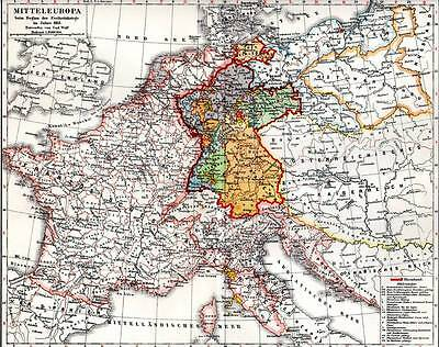 Central Europe Original 1897 Antique Map Chromolithograph Print