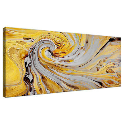 Modern Yellow Spiral Swirl Abstract Canvas Wall Art Print Canvas Pictures Unfram