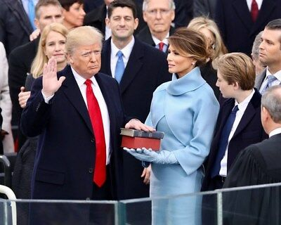 President Donald Trump Inauguration Hand on Bible Sworn In 11 x 14 Photo Poster