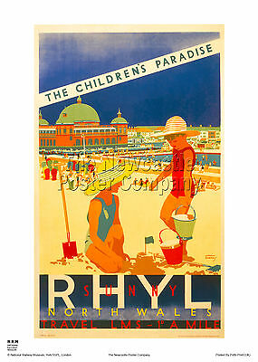 Rhyl Wales Retro Vintage Holiday Railway Travel Poster Advertising Art Rail