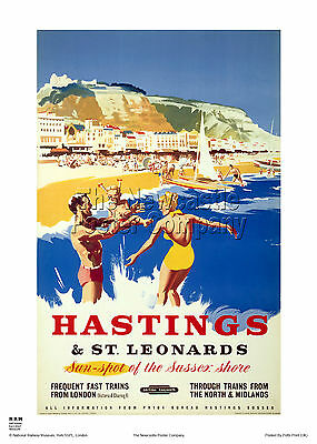 Hastings Sussex Retro Vintage Railway Holiday Travel Poster Advertising Art